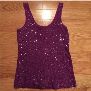 EUC Express Purple Sequin Party Tank size Med